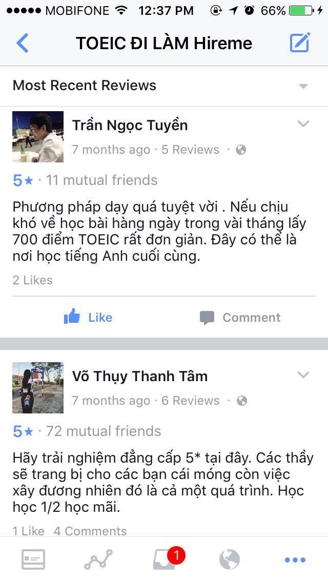 Cảm nhận học viên lớp luyện thi TOEIC Vũng Tàu